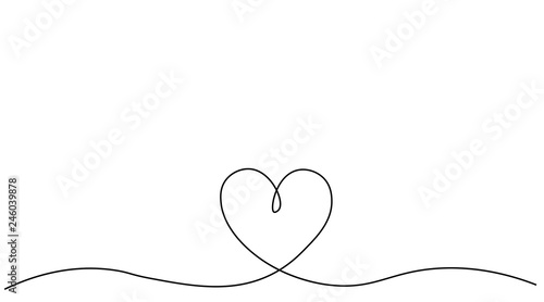 Fotografie, Obraz  Heart background valentine day design, one line draw vector illustration