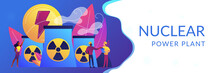 Engineers Working At Nuclear Power Plant Reactors Releasing Energy. Nuclear Energy, Nuclear Power Plant, Sustainable Energy Source Concept. Header Or Footer Banner Template With Copy Space.