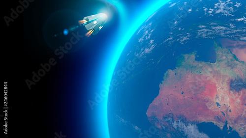 Veicolo spaziale, capsula orbitale da trasporto di equipaggio in direzione della Stazione Spaziale Internazionale Tableau sur Toile