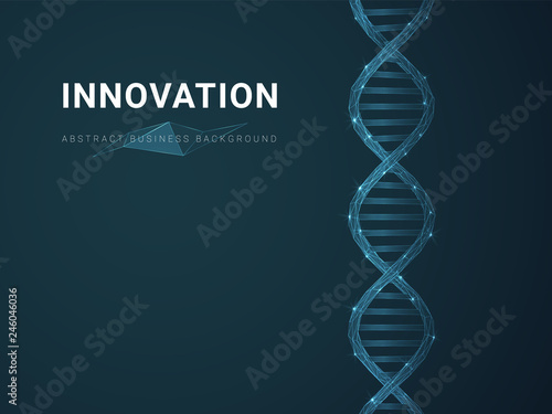 Obraz Abstract modern business background depicting innovation with stars and lines in shape of a DNA double helix on blue background. - fototapety do salonu