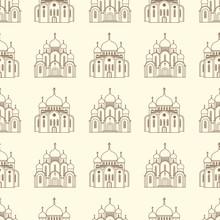 Line Orthodox Church Buildings Seamless Pattern. Illustration Of Church Seamless Pattern