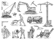 Engineering Vehicle. Heavy Equipment For The Construction Of Buildings. Agricultural Machinery. Crane And Agrimotor, Tractor And Excavator, Concrete Truck For Farm And Earthwork Operations. Hand Drawn