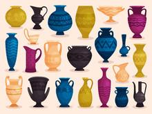 Set Of Colored Antique Vases. Vector Illustration. Pottery Ceramic, Pot Object Crockery