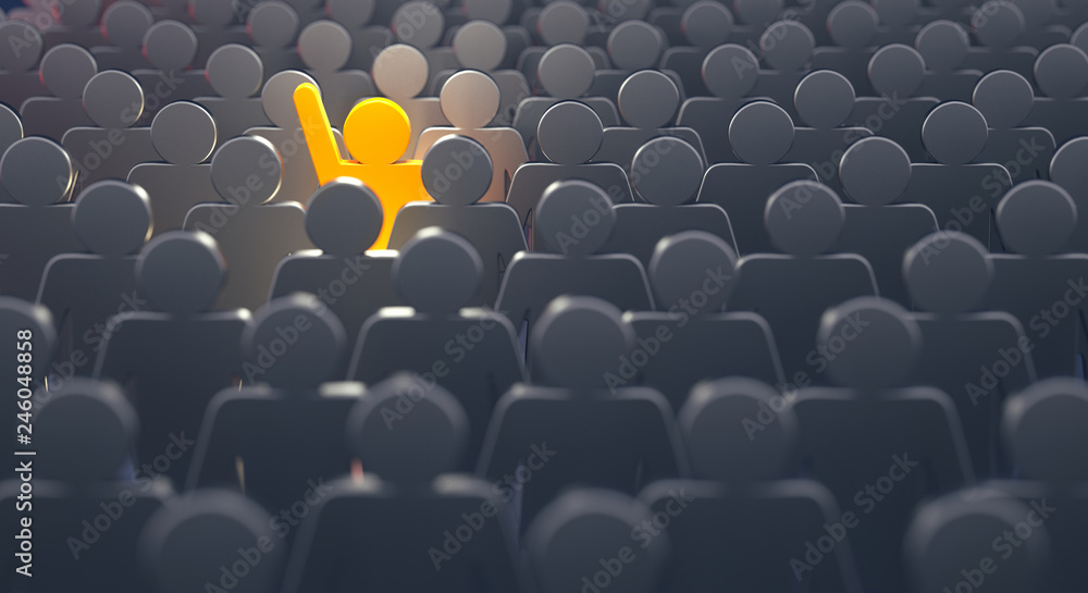 Fototapeta Stand out from the crowd and different creative idea concepts, man standing out of crowd - 3d rendering