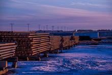 Oil Rig Pipe In Winter