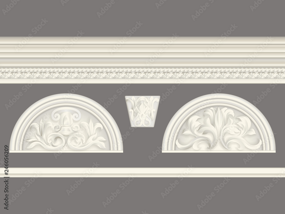 Fototapeta Cream classic relief and cornice set isolated, architectural elements set