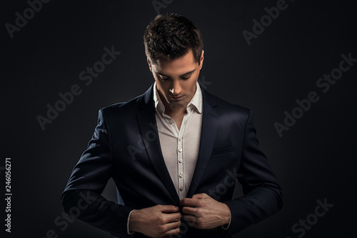 Fotografie, Obraz  Handsome young elegant man in suit.