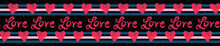 Red Brush Stroke Love Hearts With Denim Blue Stripes And Creative Lettering. Hand Drawn Seamless Repeating Vector Border. For Valentines Day Banner Ribbon, Romantic Wedding, Passion Proposal Tape.