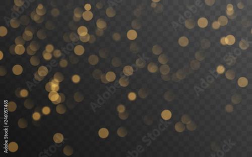 Fototapeta Abstract golden shining bokeh isolated on transparent background. Decoration or christmas background. obraz na płótnie