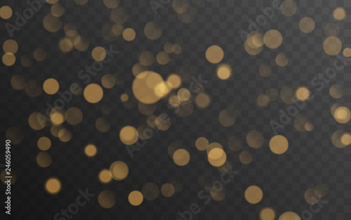 Fotografía  Abstract golden shining bokeh isolated on transparent background