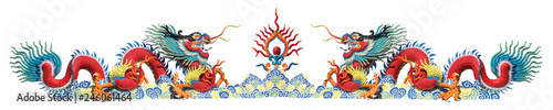 Fotografie, Tablou  Twin colorful Chinese dragon on white background