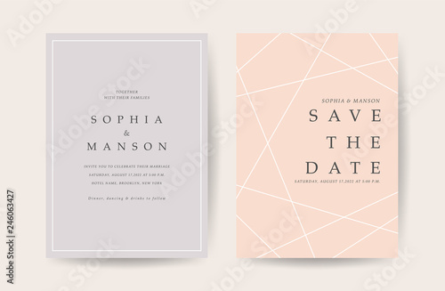 Fototapeta Luxury Wedding Invitation Card Design With Minimal Golden Geometric Shape Pattern Can Be Adapt To Covers Design Rsvp Brochure Packaging