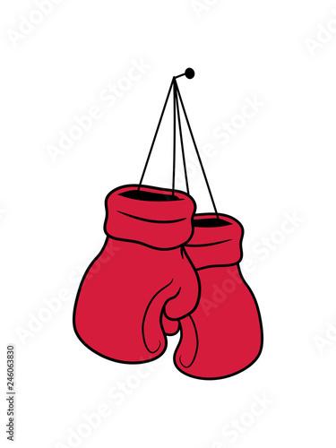Aufgeben Aufräumen Nagel Hängen Beenden Boxer Handschuh Boxhandschuh