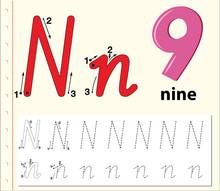 Letter N Tracing Alphabet Worksheets