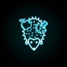 Hedgehog With Apple And Mushroom Icon In Neon Style. Simple Thin Line, Outline Vector Of Autumn Icons For UI And UX, Website Or Mobile Application
