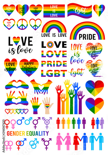 Cuadros en Lienzo Love is love, rainbow flag, lgbt pride, vector set