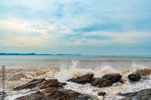 sea wave with stone at Khao Laem Ya in Mu Ko Samet National Park, Rayong, Thailand