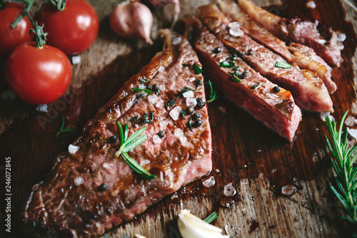 Medium rare piece of steak food photography recipe idea