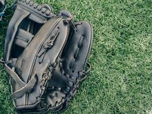 Baseball Glove In Grass In Sun...