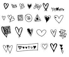 Valentines Day Hearts Doodles Set