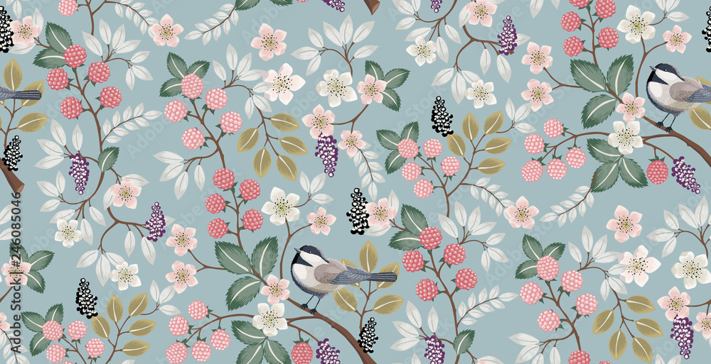 Fototapety, obrazy:  Vector illustration of a seamless floral pattern with cute birds in spring for Wedding, anniversary, birthday and party. Design for banner, poster, card, invitation and scrapbook