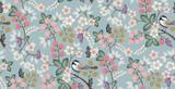 Wektorowa ilustracja bezszwowy kwiecisty wzór z ślicznymi ptakami w wiośnie na ślub, rocznicę, urodziny i przyjęcie. Projekt banera, plakatu, karty, zaproszenia i albumu - 246085046