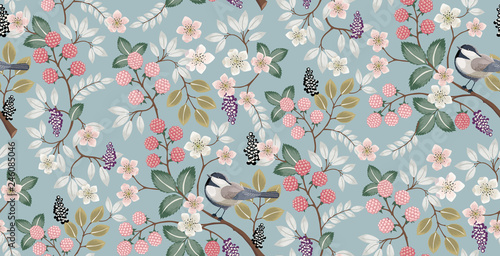 Vector illustration of a seamless floral pattern with cute birds in spring for Wedding, anniversary, birthday and party. Design for banner, poster, card, invitation and scrapbook