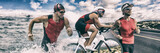 Triathlon sport banner man running , swimming, biking for competition race background. Triathlete swim bike run composite.