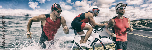 Fototapeta Triathlon sport banner man running , swimming, biking for competition race background. Triathlete swim bike run composite. obraz