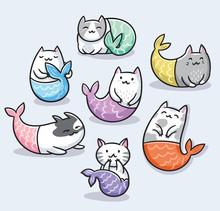 Set Of Cute Kawaii Cat Mermaid. Vector Illustration