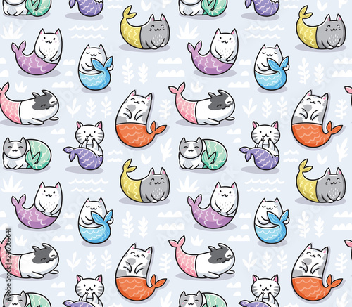 obraz PCV Seamless pattern with cats mermaid in kawaii style. Vector illustration