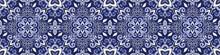 Ethnic Style Seamless Pattern. Azulejo Ceramic Tile Design. Zellige Ornament. Talavera Tracery Motif. Portuguese, Spanish, Mexican, Brazilian Folk Print