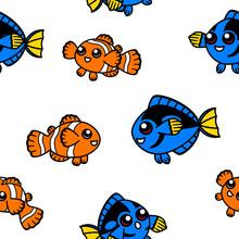 Clown Fish And Blue Tang Seaml...