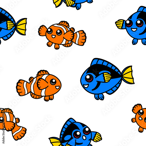 Clown fish and blue tang seamless pattern Canvas Print