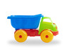 plastic construction truck toy on white background