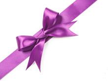 Purple Satin Ribbon Bow Cut Ou...