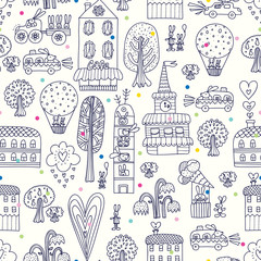 City of rabbits. Cute vector seamless pattern with bunnies. Wallpapers-coloring pages for kids. Linear pattern.