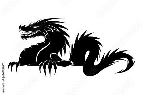 Sign of a black dragon on a white background. Canvas