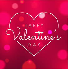 Happy St. Valentine's Day Red Shiny Greeting Card With Heart.