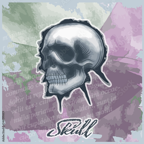 Printed kitchen splashbacks Watercolor skull Skull drawn in watercolor style, on vintage background.