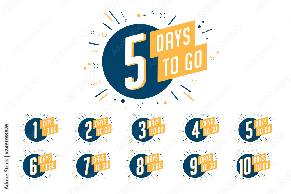 Fototapeta Number of days left to go, badges or sticker design.