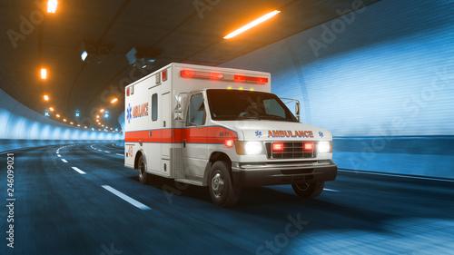 Ambulance car rides through tunnel warm yellow light 3d rendering Canvas Print