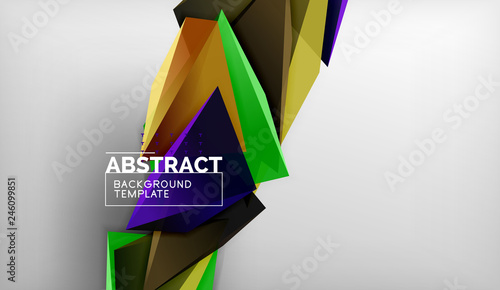 Photo Stands 3d triangle geometric background design, modern poster template