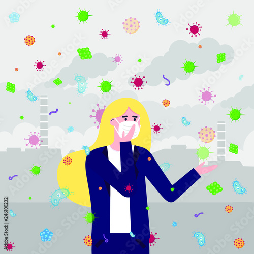 Photo sur Toile Papillons dans Grunge The woman in mask, bacterias and viruses fly because infection transmitted by air. Mask as protection against bacterias and viruses concept flat style vector illustration with factory behind.