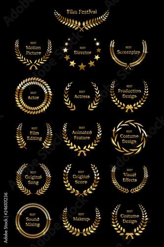 Golden shiny award laurel wreaths isolated on black background Canvas Print
