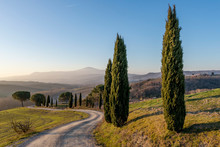 A Dirt Road Winds Through The Sienese Countryside Near San Quirico, Siena, Tuscany, Italy