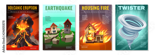 Natural Disasters Posters Set Canvas Print