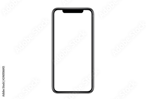 Photo  Smartphone similar to iphone xs max with blank white screen for Infographic Global Business Marketing Plan , mockup model similar to iPhonex isolated Background of ai digital investment economy
