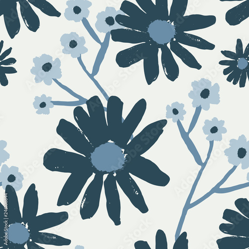 Hand Drawn Flowers Seamless Pattern Canvas Print
