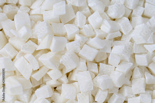 the texture of the candied pieces of coconut